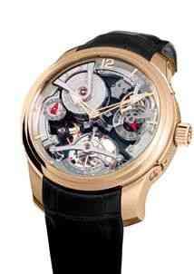 Esta potência é a gênesis de tudo: Double Tourbillon 30 Technique... Como todos os relógios da marca, a corda é manual. O duplo tourbillon é o que aplaca as interferências da gravidade e outras forças da natureza responsáveis pelos mínimos atrasos nos outros relógios do planeta!