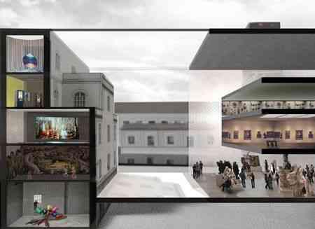 A linda sede da Fundação Prada, em Milão, onde foi exposta a delirante e linda instalação, Jardim suspenso e congelado, de Marc Quinn