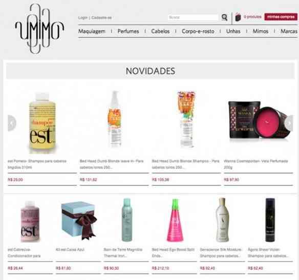 Página do site da UMIMO mostrando suas maravilhas