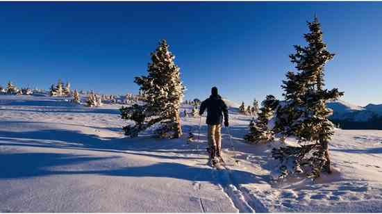 Man in Mountains Winter Ski Touring Near Vail Colorado