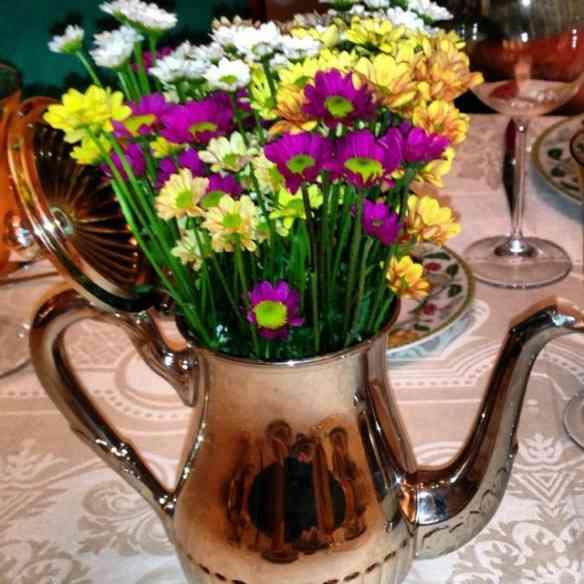 O lindo bouquet que nos esperava à mesa!