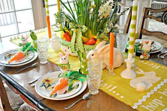 Spring Easter Bunny Table setting Yellow Daffodils Polka Dot 10