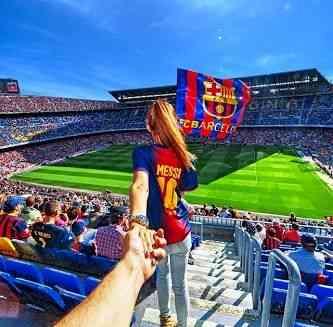 """E por que não torecer pelo Barça, em pleno Camp Nou, Barcelona, """"bine sûre""""?!"""