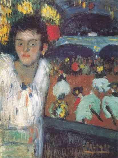 """""""No Moulin Rouge"""" : Quadro em que Picasso e Toulouse Lautrec se confundem e Picasso começa a assinar suas"""