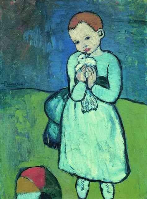 """""""O menino com a Pomba""""é considerado o primeiro quadro da fase azul e, como todos acima, estava na preciosa """"Becoming Picasso""""."""