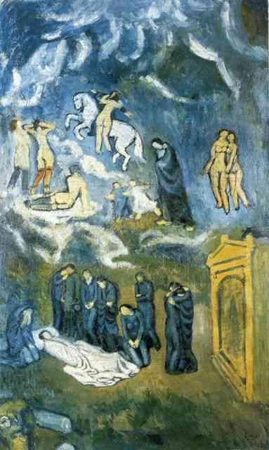 """No """" Enterro de Cartagemas"""", em plena """"Fase Azul"""", outra homenagem ao amigo Carlos, Picasso vai atrás de El Greco e seu emblemático """" O Enterro do Conde de Orgaz"""", para sua inspiração… Fiquei pasma diante dele por sua beleza, por nunca tê-lo visto, nem reproduzido e por ser """"O Conde de Orgaz"""" meu El Greco favorito…"""