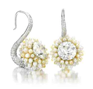 A-Pair-of-Natural-Pearl-and-Diamond-Ear-Pendants-by-Viren-Bhagat