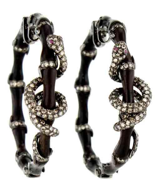 Wendy-Yue-Wood-Snake-Hoop-Earrings