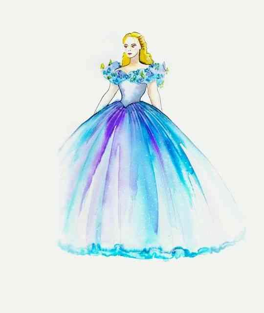 Este é o croquis do vestido de baile: Como de uma aquarela, imaginou