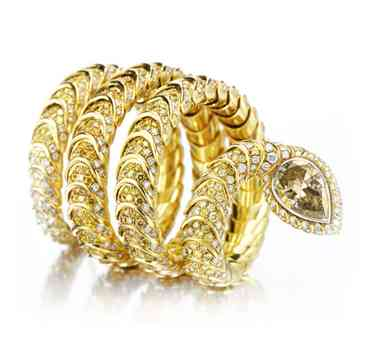 A-Multi-colored-Diamond-and-Gold-Serpent-Bracelet-by-Hemmerle