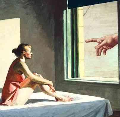 Esta linda colagem,,  misturando o realismo de Edward Hopper com o renascentista Michelangelo