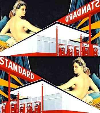 """Contraste mais que perfeito da """"A grande odalisca"""", de Ingres e """"Standard Station"""", de Ed Ruscha:"""