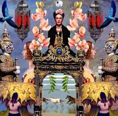 Algumas vezes, as colagens são animadas, como aqui, milkshake de Frida Kahlo com Rivera e até Botticelli) em que os cavalos corem: Muito lindo!