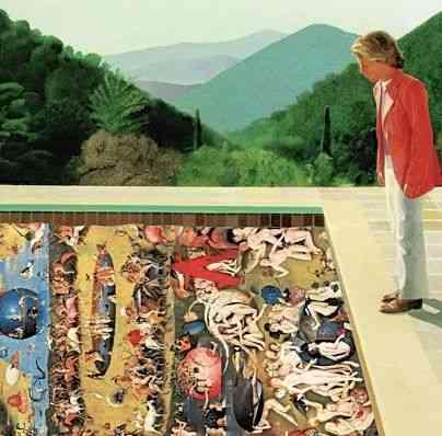 """Achei genial o personagem do pintor inglês David Hockney debruçado olhando um 'inferno"""" by  Boch"""