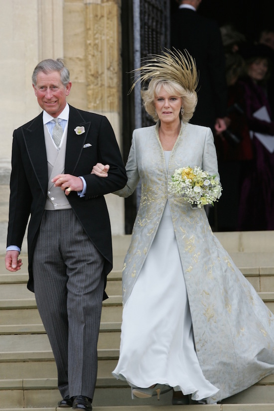 Britain's Prince Charles and Duchess of Cornwall leave St. George's Chapel following their marriage in ...