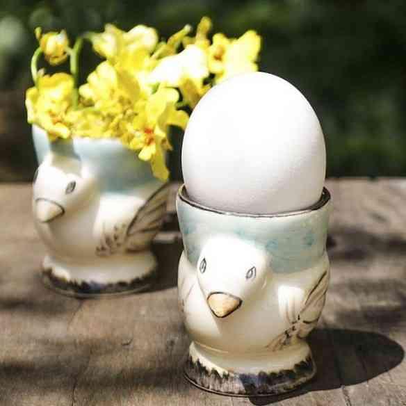 Estes porta ovos de cerâmica são uma fofura!