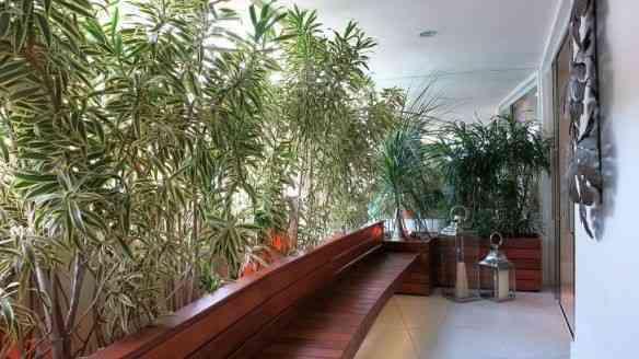 … Que dá pra uma circulação que virou um simpático jardim. Reparem o bancão que apóia a sala: uma sacada!