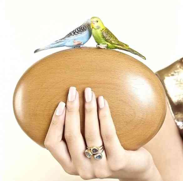 Foi amor à primeira vista por esta carteira de madeira com os passarinhos: da coleção SS2016... Vai bombar!