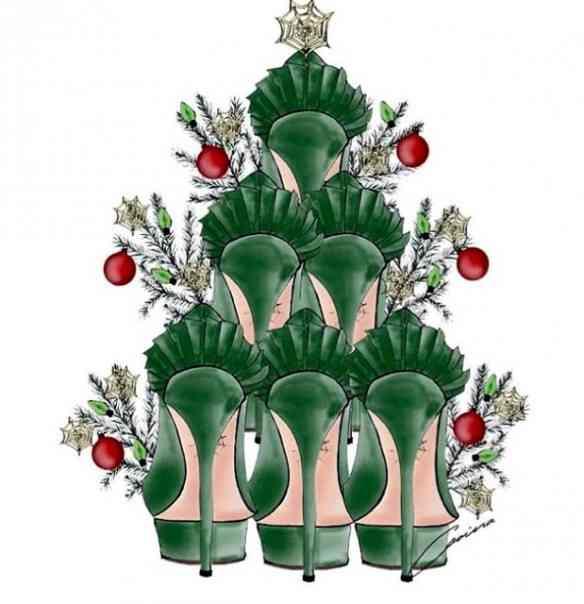 Adorei esta árvore de natal a calhar... Da Charlotte Olympia e seus lindos sapatos!