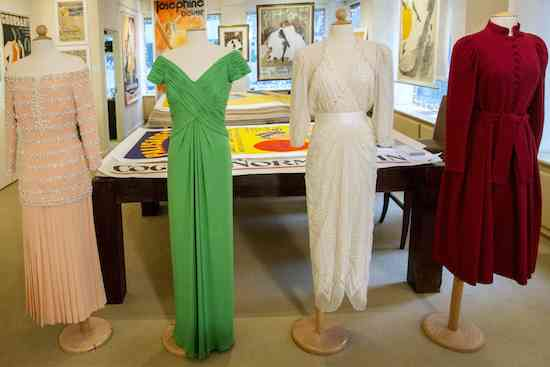 Dresses once worn by Britain's Princess Diana are displayed by Julien's Auctions in New York November 12, 2014. Dresses worn by Princess Diana, as well as collections from Marilyn Monroe, James Bond and Sci-Fi films will be part of a two day auction to take place on December 5 and 6.  REUTERS/Brendan McDermid (UNITED STATES - Tags: ENTERTAINMENT ROYALS SOCIETY) - RTR4DXS5