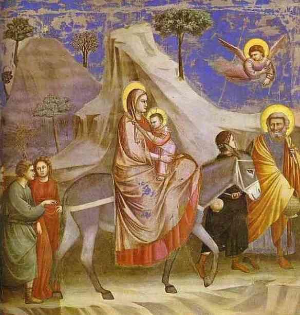 Cena da Madona com Jesus: Giotto é o primeiro a pintar perfil de personagem e podemos também notar a técnica da perspectiva neste painel!