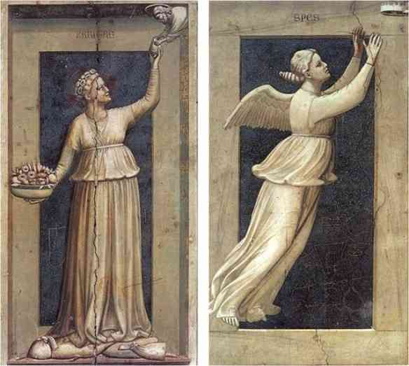 Além das cenas mencionadas, Giotto também fez afrescos de alegorias das virtudes e vícios... Como este da Caridade. É tão perfeito que Proust o cita para definir as feições de uma personagem!
