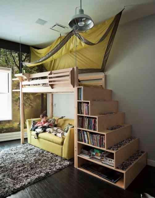 Em um pequeno espaço, este quarto permite mil e uma estripulias... Vivas os pequenos!