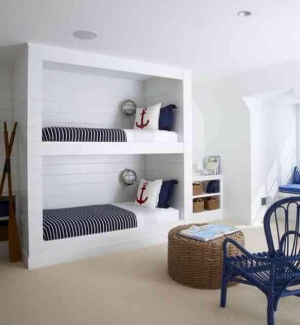 Outro quarto com inspiração nos mares e elegância despojada: amo!