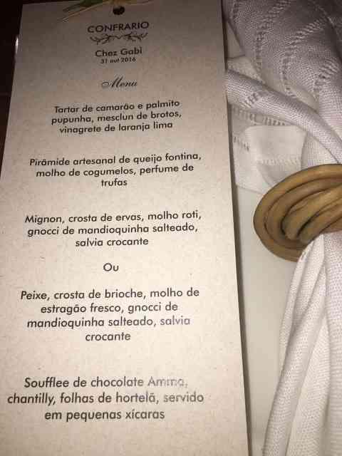 """Detalhe do """"menu"""" divino, feito por uma das nossas """"conferiras"""", Anna Gross, uma das donas do maravilhoso """"Cooking Buffet""""!"""